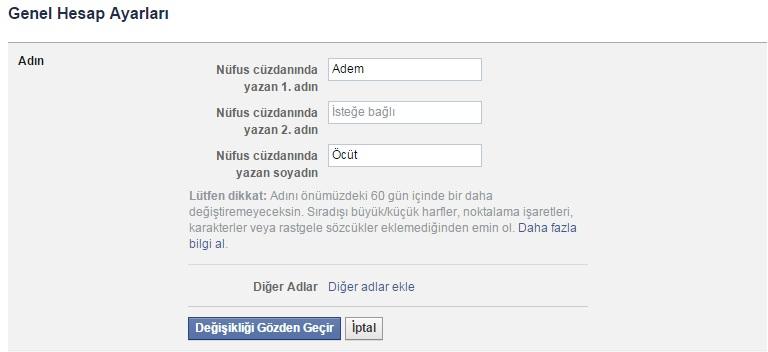 facebook diğer adlar ekle