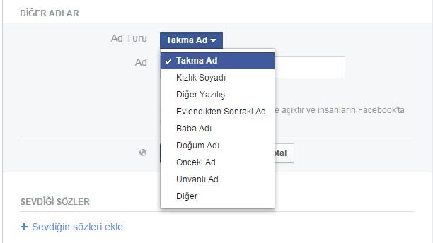 facebook takma ad
