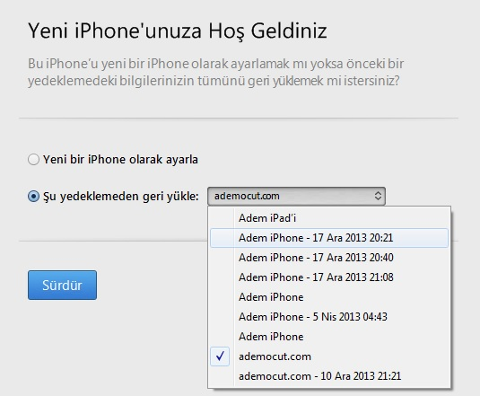 iphone yedekleme