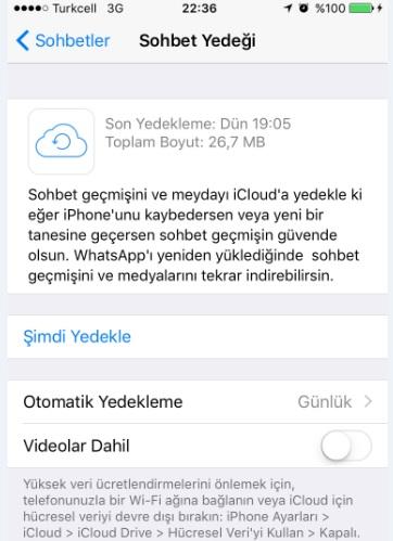 whatsapp sohbet yedeği alma