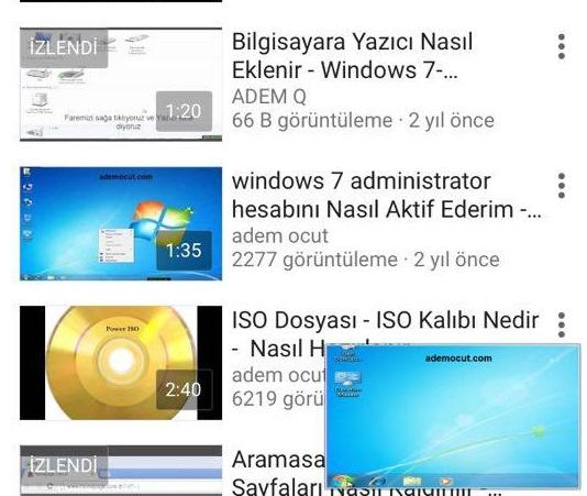 youtube pip özelliği