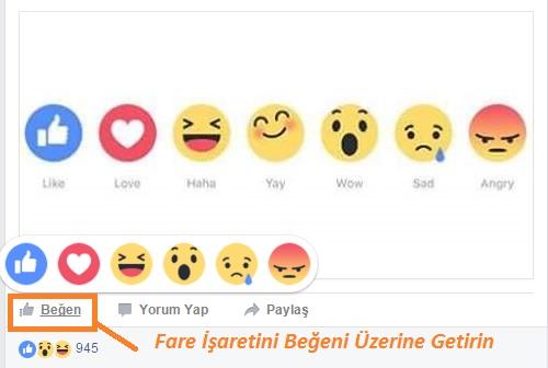 facebook beğeni emojileri