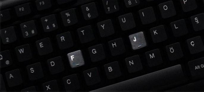 klavye f j tuşları