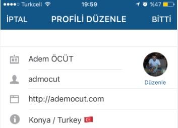 instagram profil düzenleme