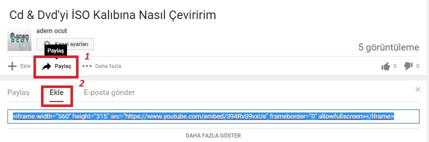 wordpress youtube embed kodu