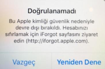 apple doğrulanamadı
