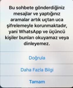 whatsapp şifreleme doğrulama