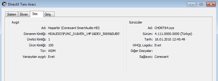 directx tanı aracı - ses kartı