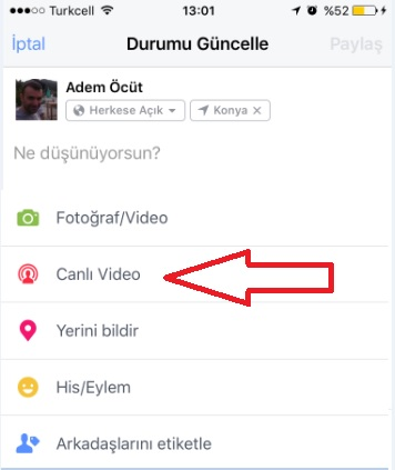 facebook canlı video