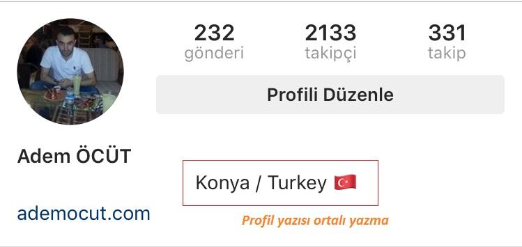 instagram profil yazı nasıl ortalanır