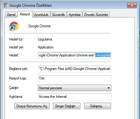 google chrome gizli mod