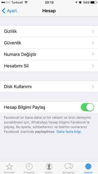 whatsapp hesap bilgimi paylaş ayarını kapatma
