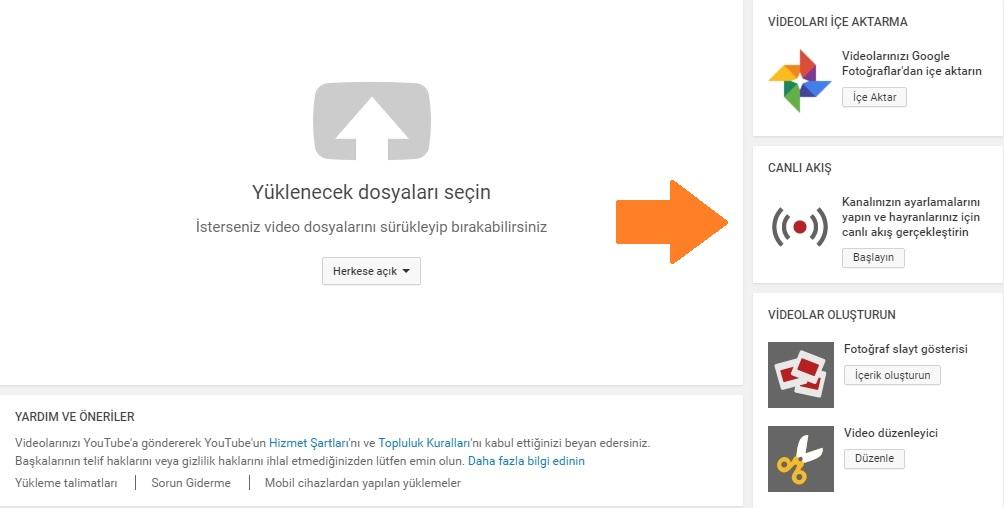 youtube canlı yayın akışı